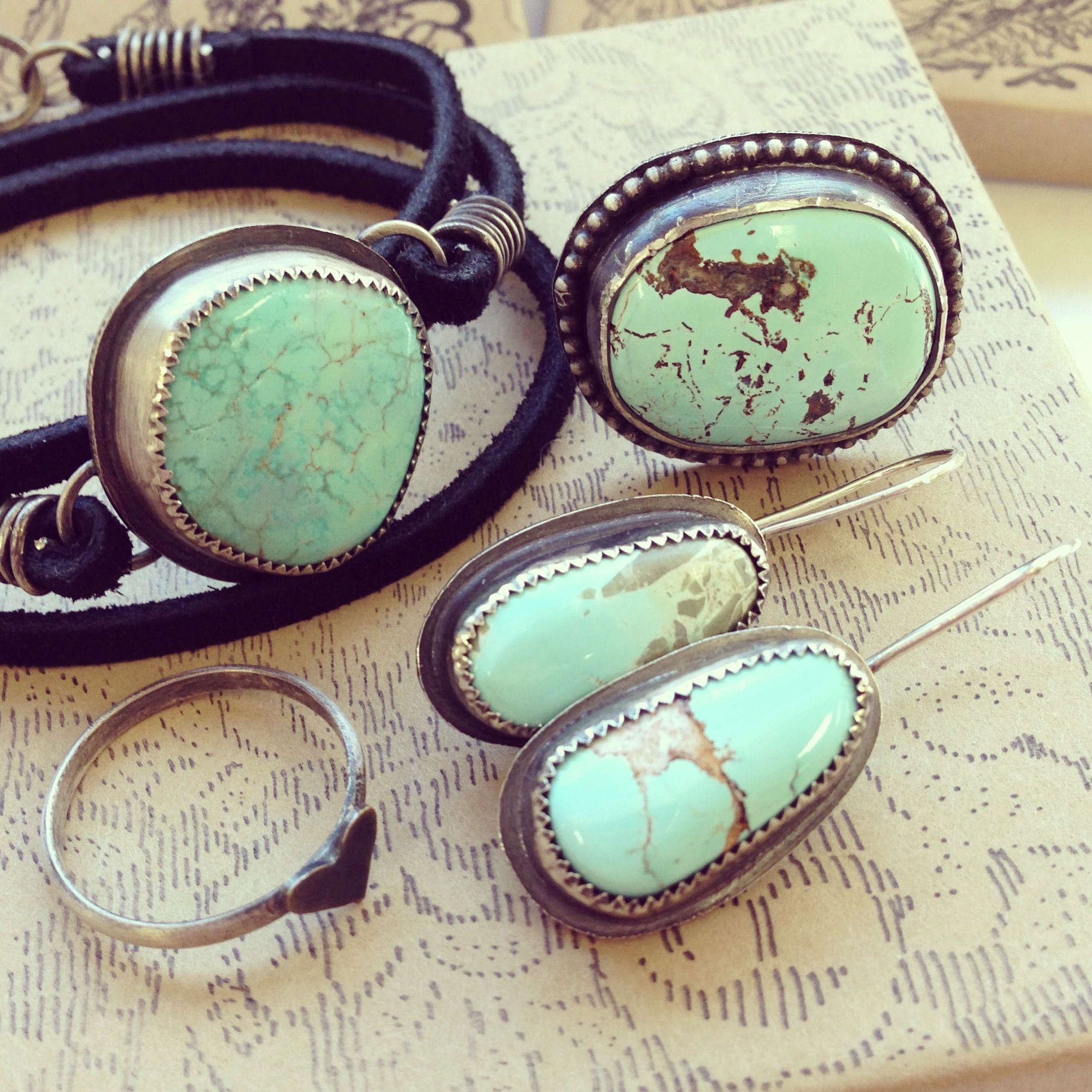 Light blue turquoise jewelry.