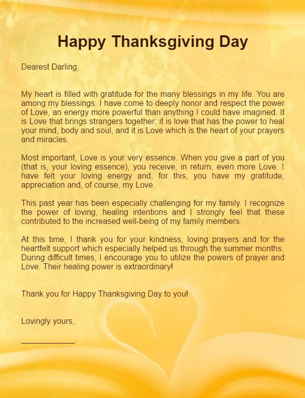 Thanksgiving Love Letter For Her Girlfriend  Love