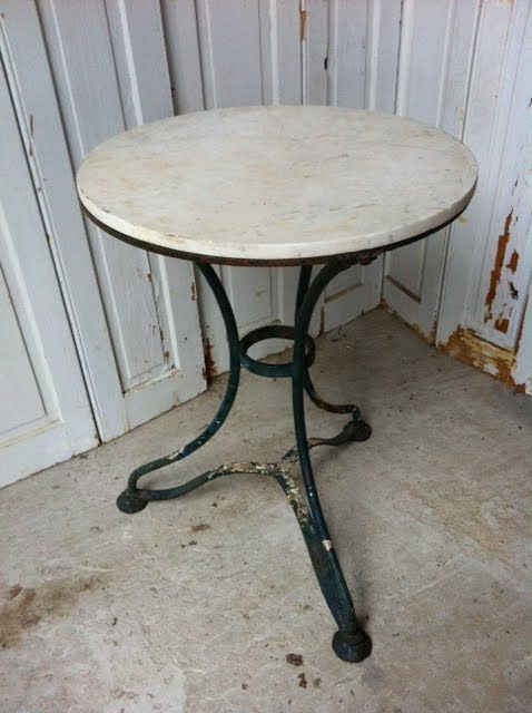 Bistro table inspiration. #19/055 Round Iron Bistro Table Marble Top - 19.5