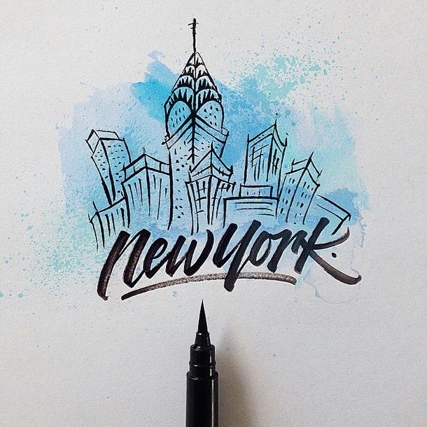 New york brushpen calligraphy david milan typography