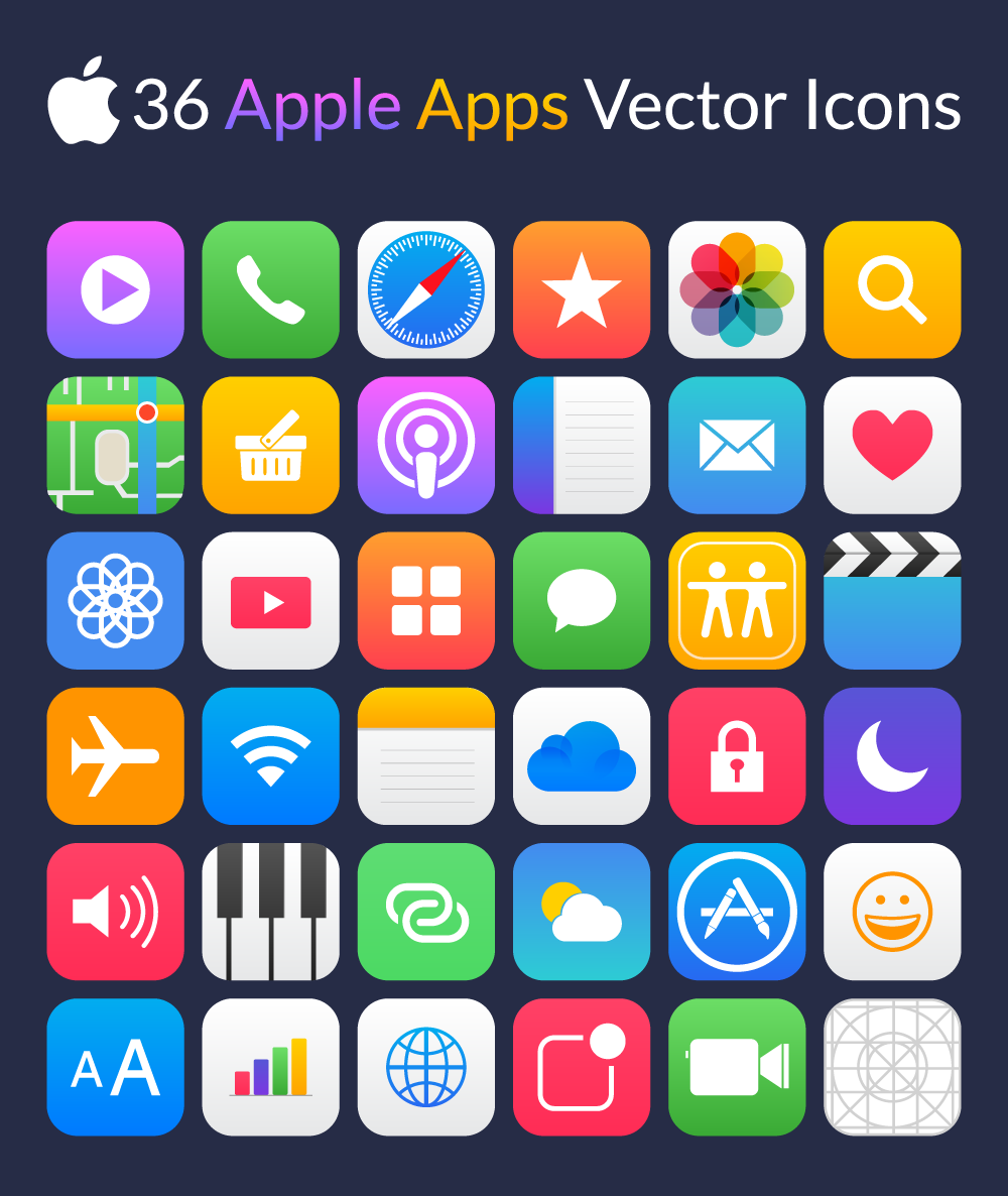 36 Apple Apps Vector Icons | icons | Apple apps, App icon