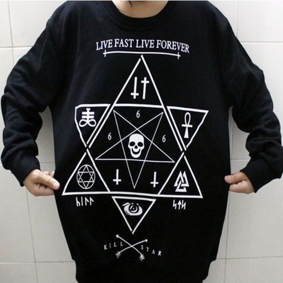 Black star sweater Live fast live forever kill star sweater with Star of  David on the front with many different symbols for the devil. It comes in  Chinese ... e6d1c65a7f3
