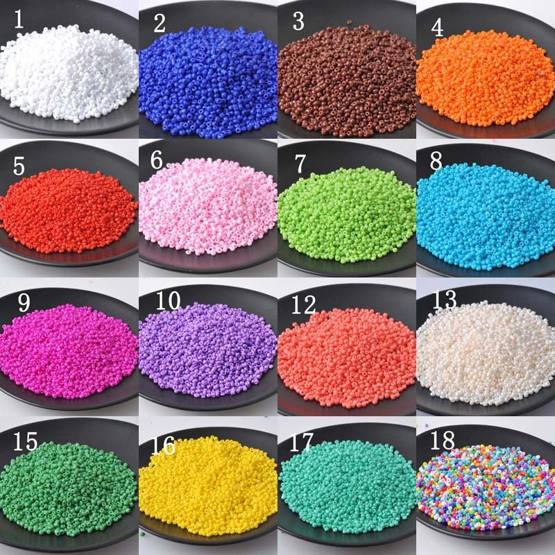18 Color 2 mm 1500 unids espaciador del vidrio cristalino, Soild granos de la semilla para la joyería DIY hechos a mano BLSS02X