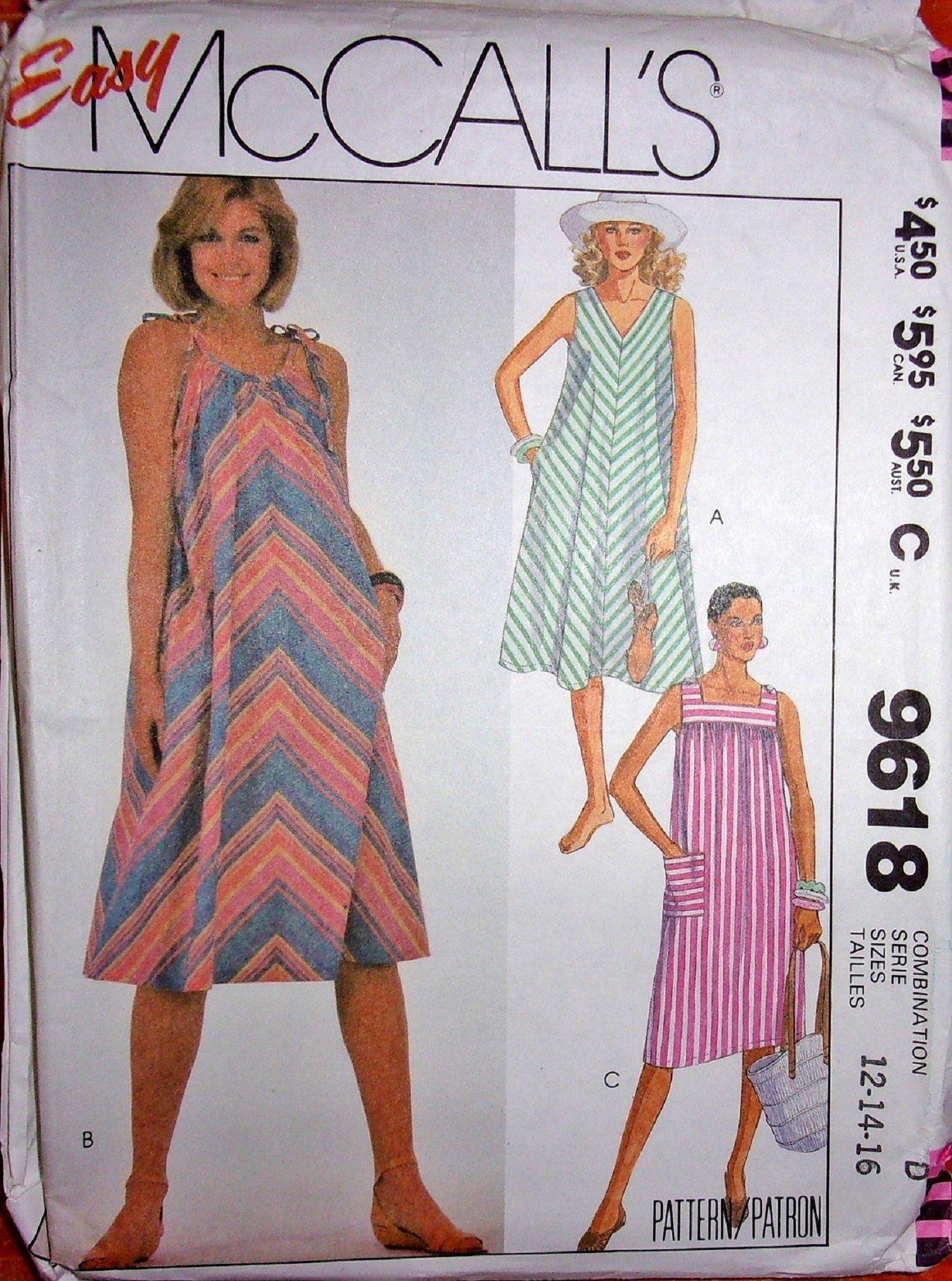 c2872baa90 Vtg 1980s McCall s 9618 Sewing Pattern Easy Pullover Sundress Beach Tent  Dress Muu Muu Caftan Women s Size 12 14 Plus 16 Bust 34 36 38 UC FF by ...