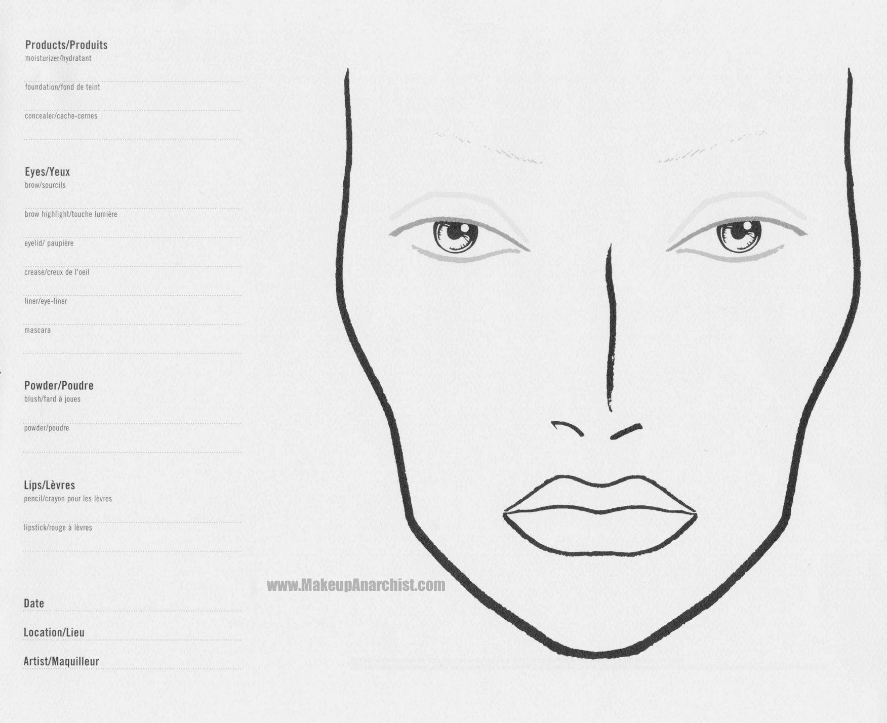 Huge Face Chart Makeup Face Charts Mac Face Charts Face Template Makeup