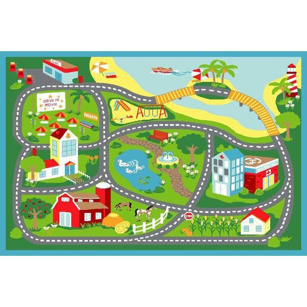 Main Product Photo Of Kids Non Slip Road Map Beach Rug