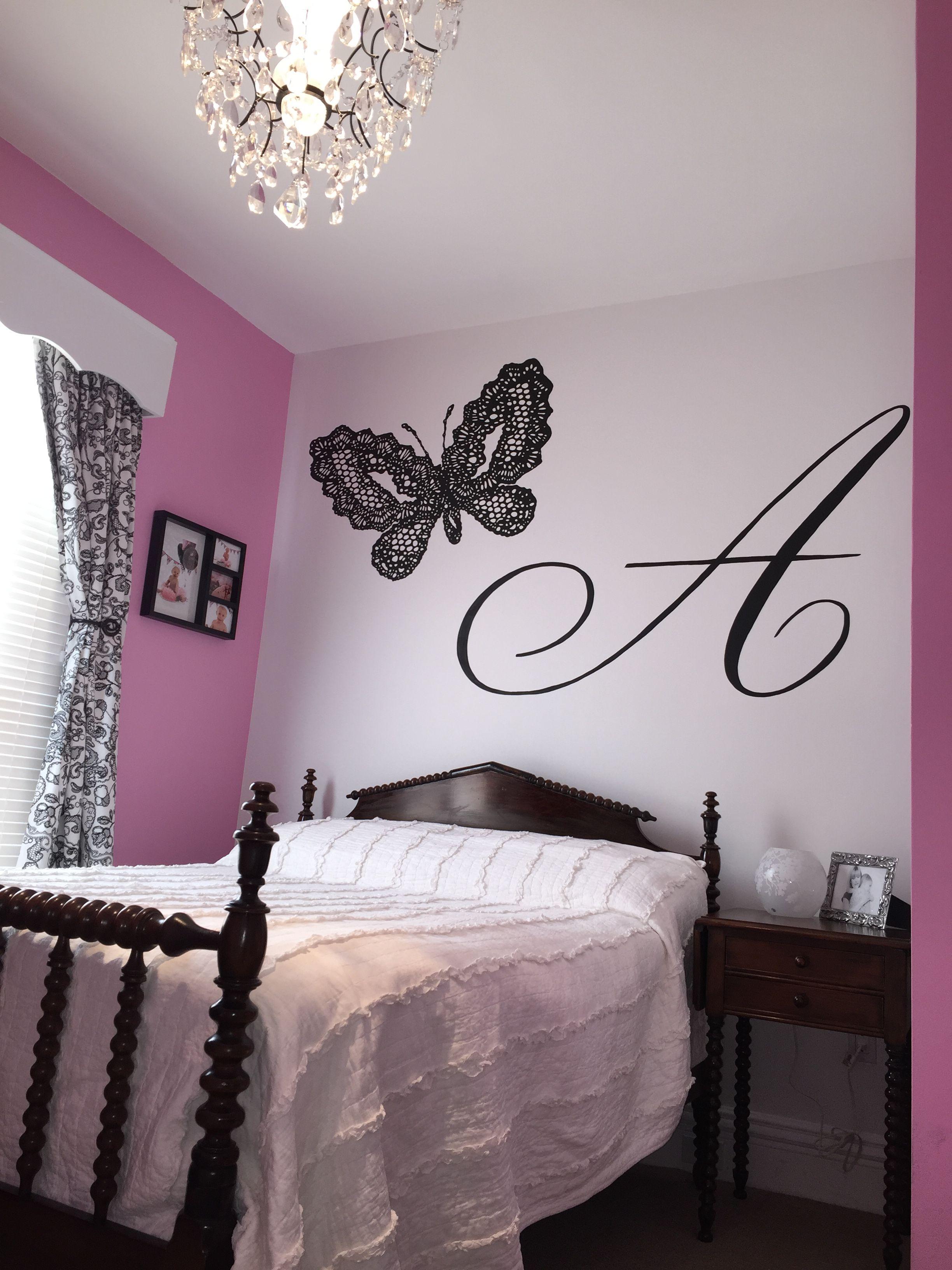 Black Butterfly Mural Girls bedroom wallpaper, Girly