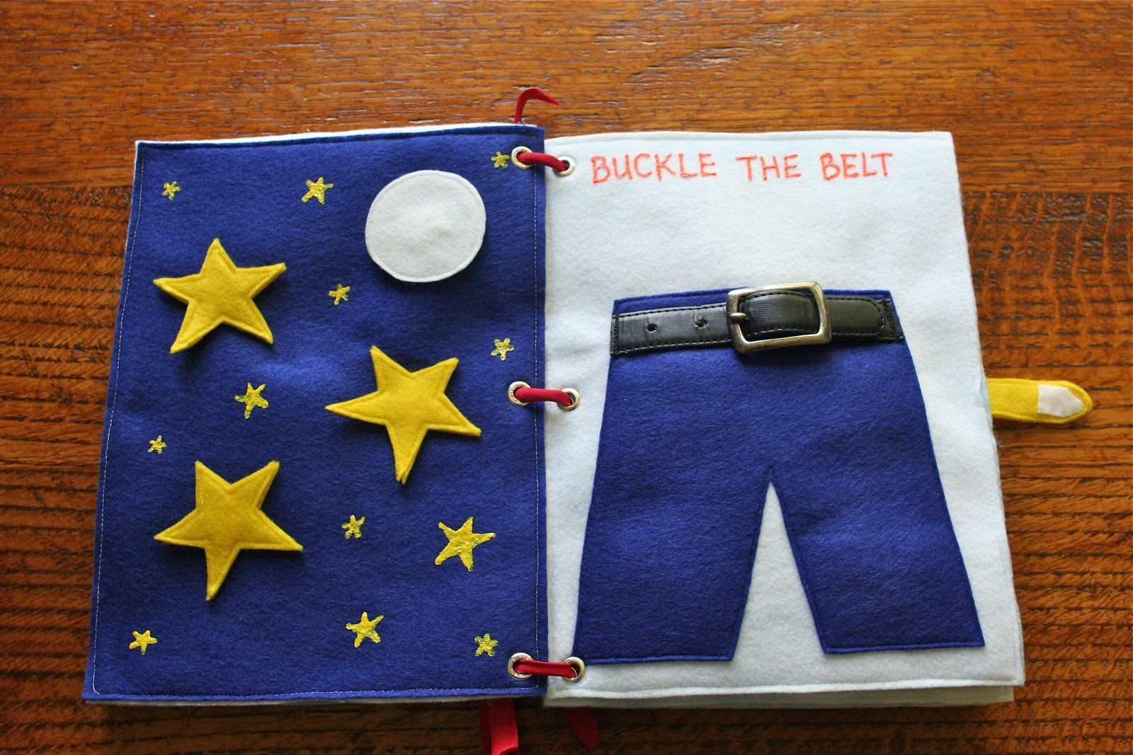 Star quiet book page and belt buckle page