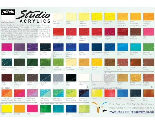 Pebeo Studio Acrylic Paints 100ml All Colours 700 600 3990m Jpg 600 480 Colours Acrylic Colors Acrylic