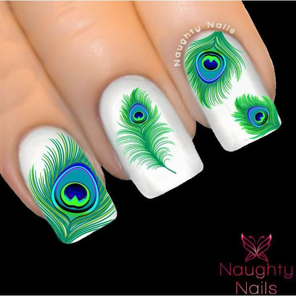 ETHEREAL JADE Peacock Feather Nail Water Transfer Decal Sticker Art ...