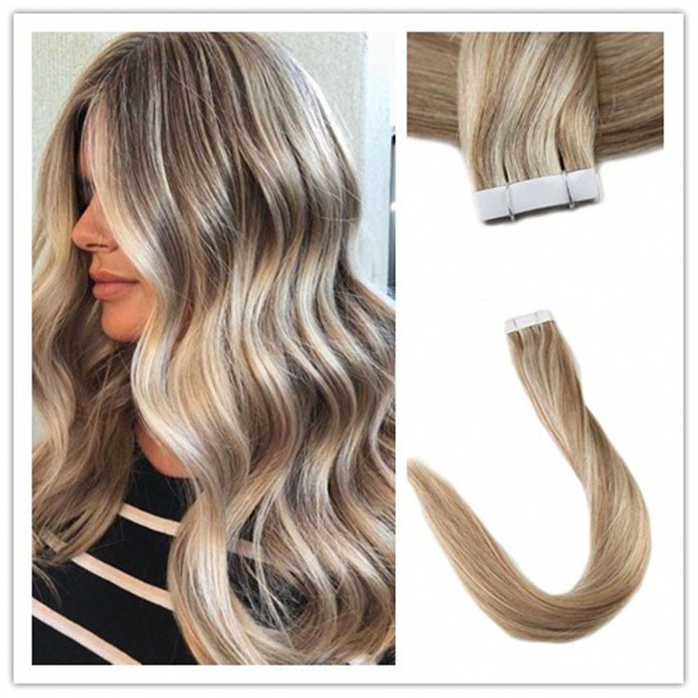 Hair extensions real hair tape in straight hair color blonde