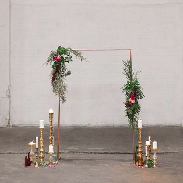 Diy Wedding Altar Backdrop: Copper Ceremony Arch Festooned With Greenery And Flowers