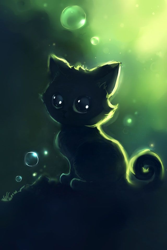 Black kitty random graphics in 2019 cute anime cat - Anime cat wallpaper ...