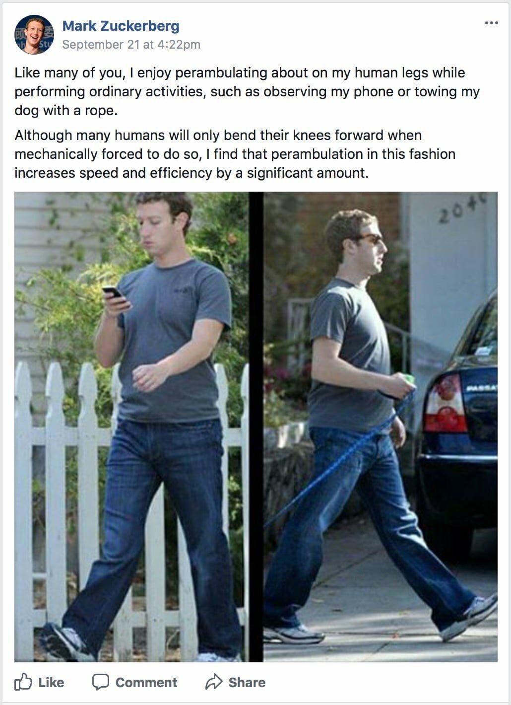 Zuckerberg Goes For A Walk On Human Legs Fake Mark Zuckerberg Facebook Posts Know Your Meme