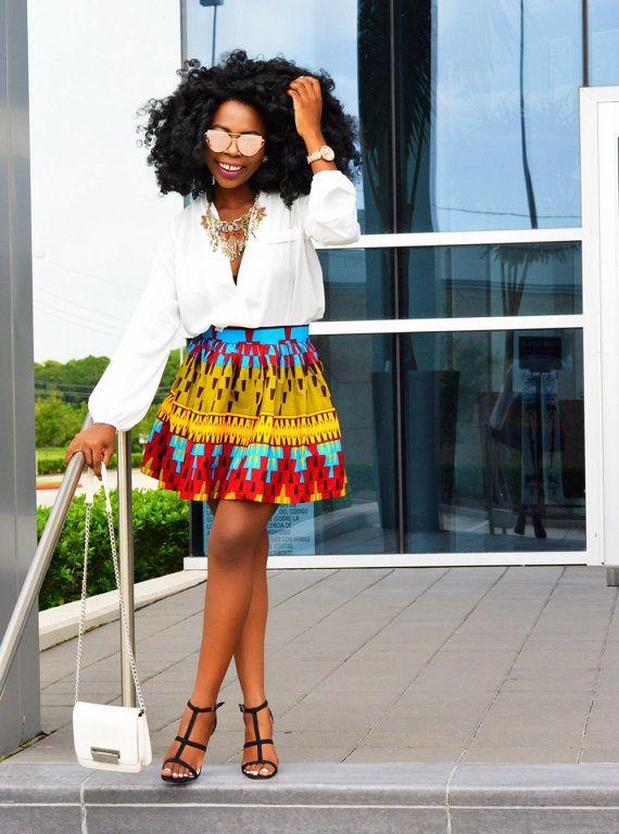 Jupe Ankara Imprim Africain Femmes V Tements Par Shoplolaster Pinteres