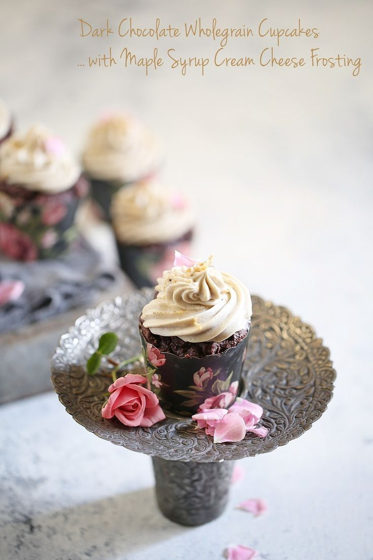 Dark Chocolate Wholegrain Cupcakes with Maple Syrup Cream Cheese Frosting