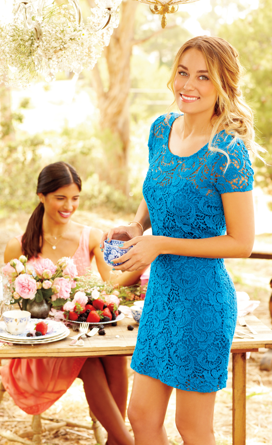 The sky\'s the limit in a blue lace dress from #LCLaurenConrad ...