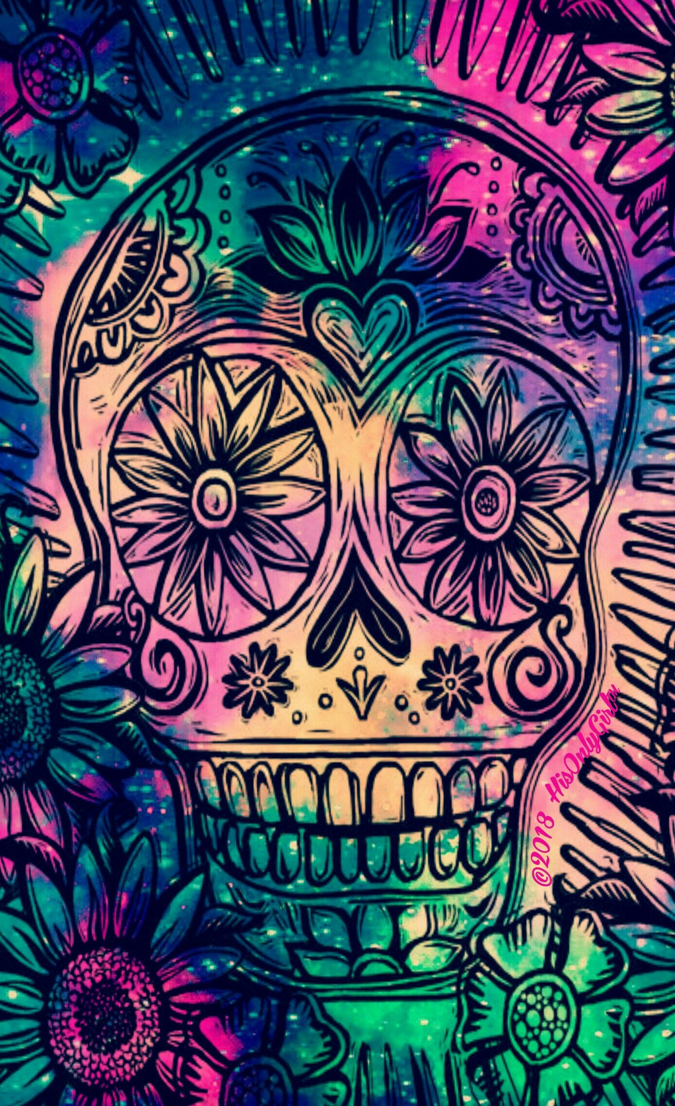 Cute Candy Skull Iphone Android Galaxy Wallpaper I Created By Hisonlygirl Skull Wallpaper Aztec Art Wallpaper Iphone Love