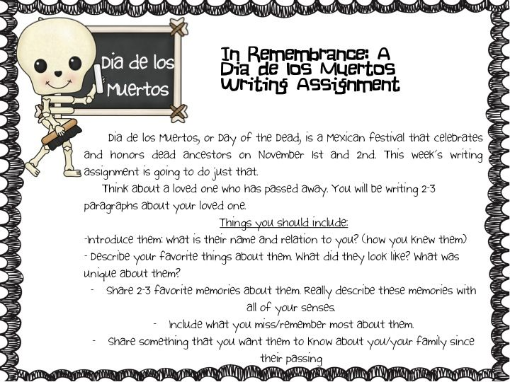 Dia De Los Muertos Writing Activity Fancy Free In Fourth  Top