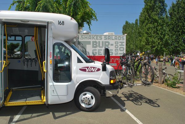 NCTPA showed off its new 3-bike racks that are on now almost every bus in Napa County.