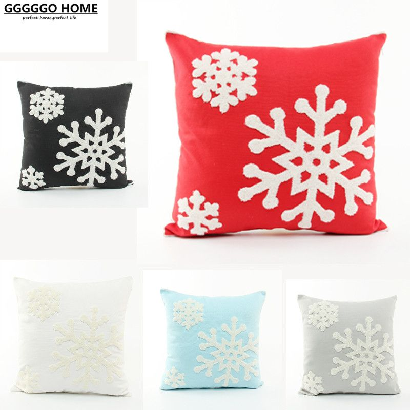 GGGGGO HOME snowflake Embroidered sofa cushion cover home