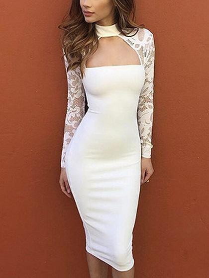 f657fef955f White Choker Neck Lace Panel Long Sleeve Bodycon Dress – risechic.com