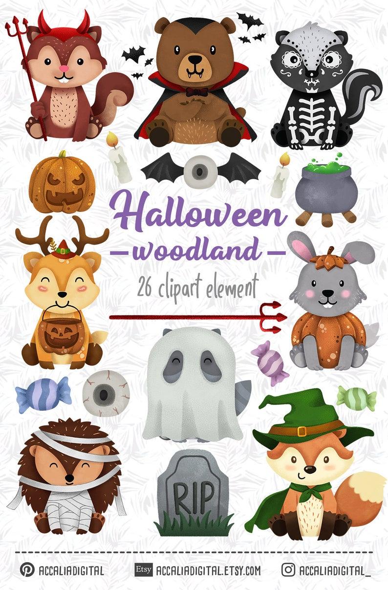 Halloween Animals Horror Animal Clip Art Horror Clip Art Etsy In 2021 Halloween Animals Clip Art Forest Friends