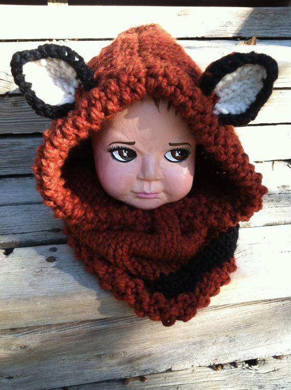 2fbd3a23737 Knitted animal hats wee fox hoodie animal hat hood chunky knit cowl  thatgirlknitz jpg 570x763 Fox