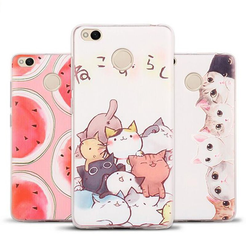 TPU Silicone Soft Clear Case Fruit Pattern Protective Case Cover For xiaomi Redmi Note 4X