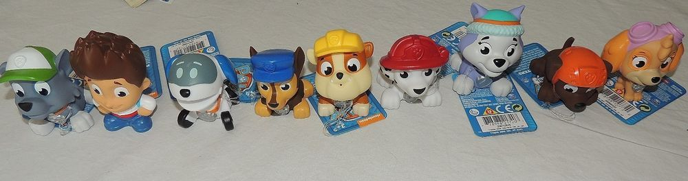 New Paw Patrol Pup Squirters Bath Toy Complete 9 Pc Set Skye Ryder