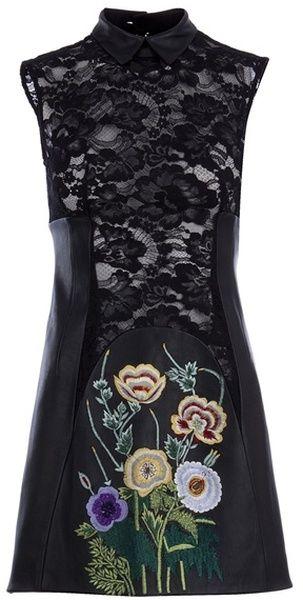 CHRISTOPHER KANE Lace Panel Leather Dress