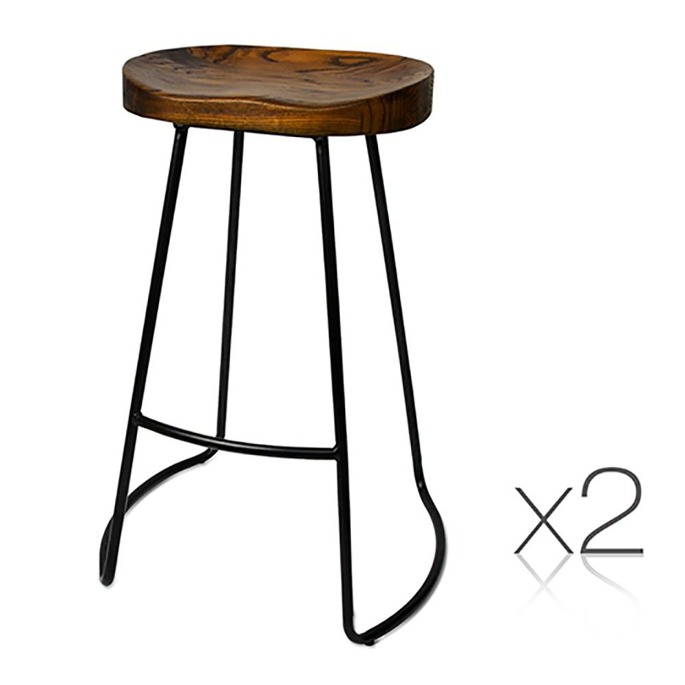 wooden tractor seat bar stools. X2 Bar Stools Elm Wood Tractor Seat Design W/ Industrial Steel Frame Wooden Pinterest