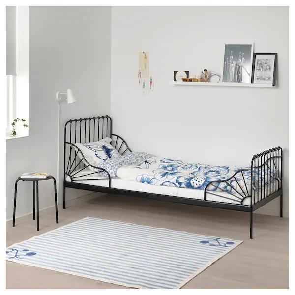 Minnen Ext Bed Frame With Slatted Bed Base Black Ikea Bed Frame Bed Base Bed