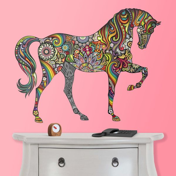 Stickers muraux cheval hindou cheval mandala couleur animaux d coration mur vinyle - Mandala cheval ...