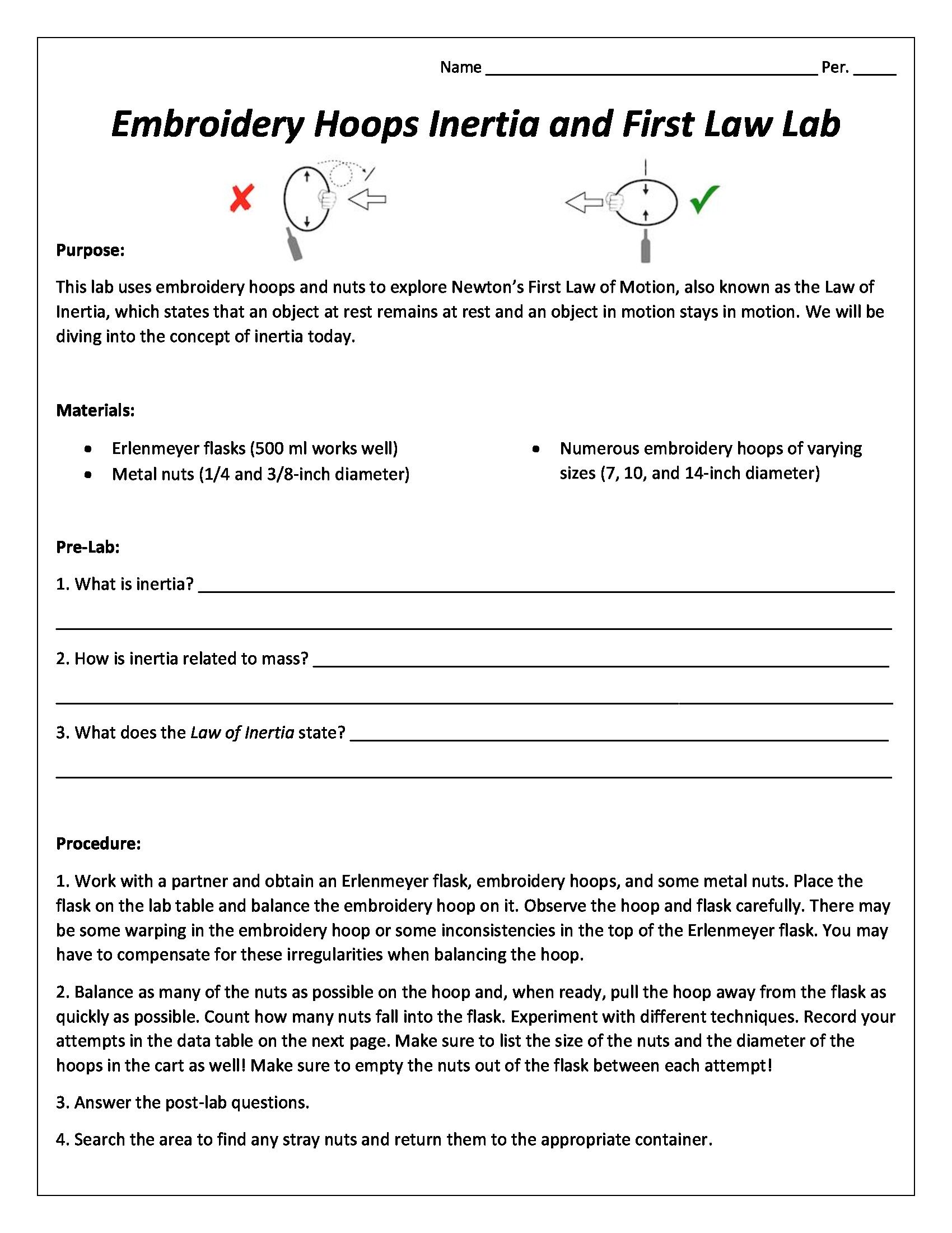 Inertia Worksheet Middle School
