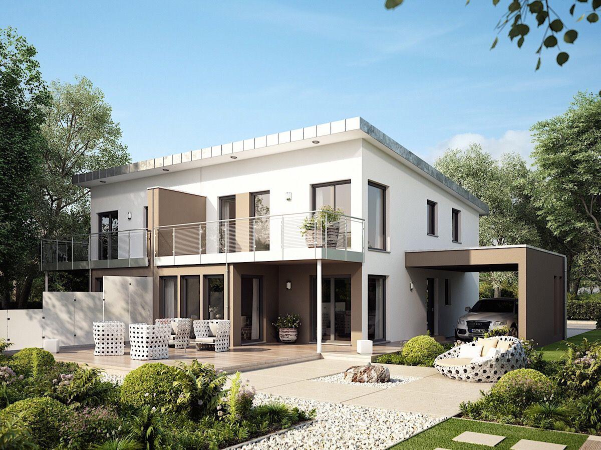 Modernes Doppelhaus mit Pultdach Architektur, Carport