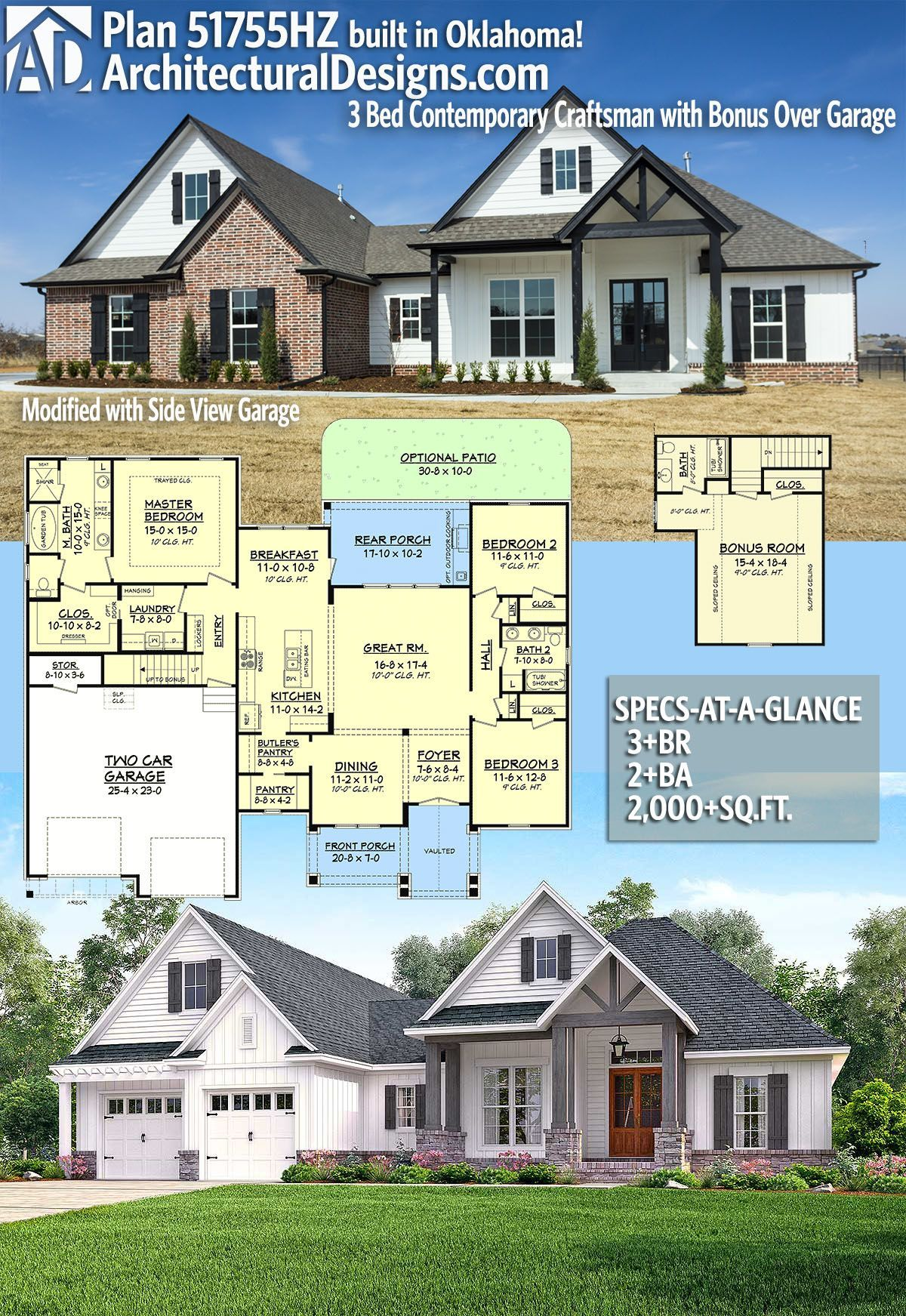 Architectural Designs Craftsman House Plan 51755hz Client Built In Oklahoma 3 Br 4 Ba 2 000 Sq Ft R Craftsman House Plans Craftsman House House Plans