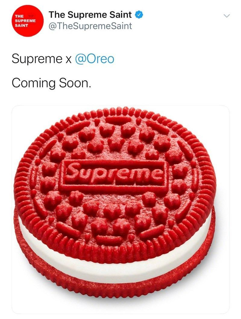 Supreme Announces Oreo Collaboration Nobody Asked For In 2020 Oreo Free Stuff By Mail Funny Memes