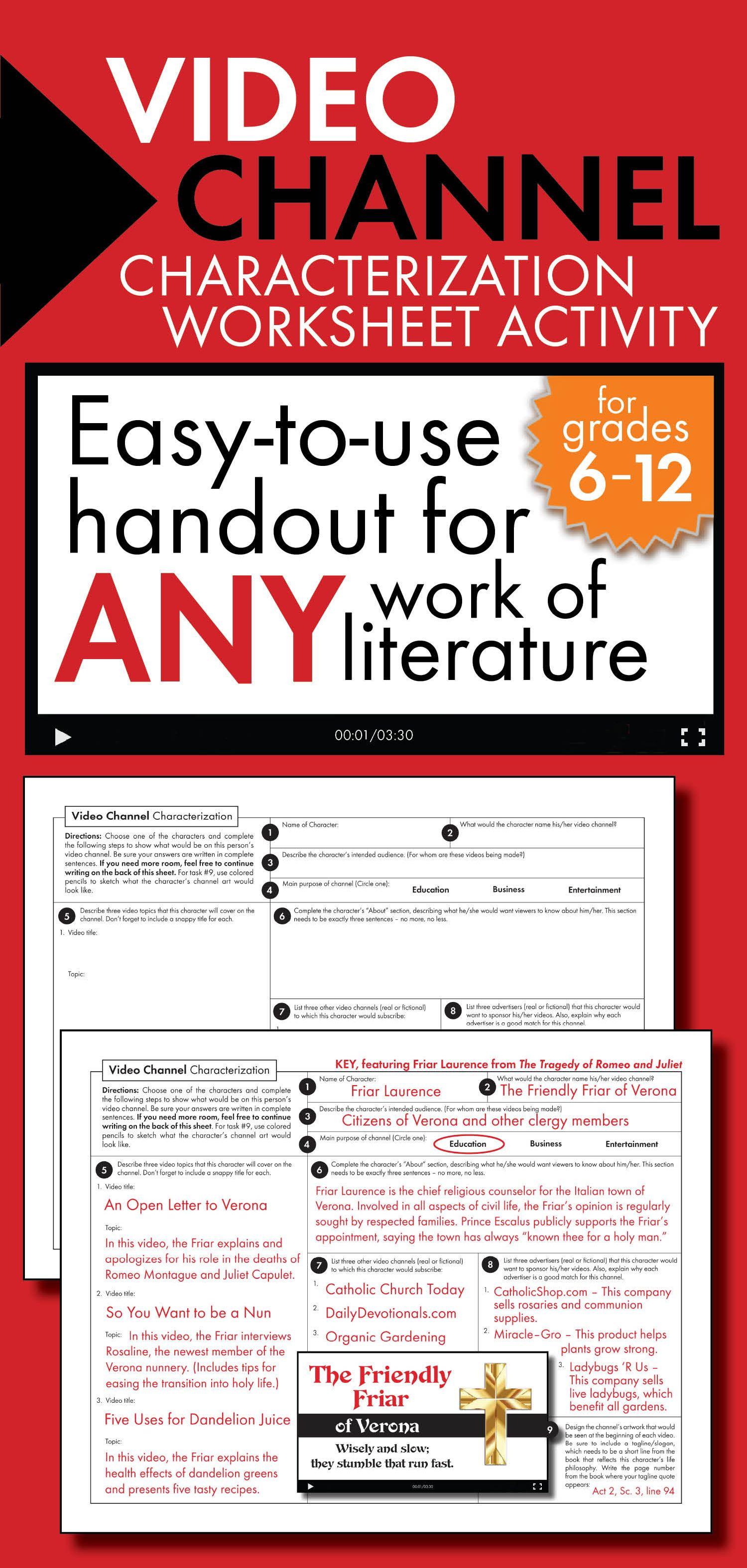 Video Channel Characterization Writing Activity Use With Any Lit