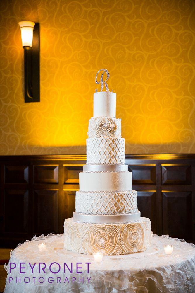 Creme de la Creme Cake Company White and Silver with Rosettes ...
