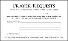 Prayer Request Cards Prayer Ministry Prayer Request