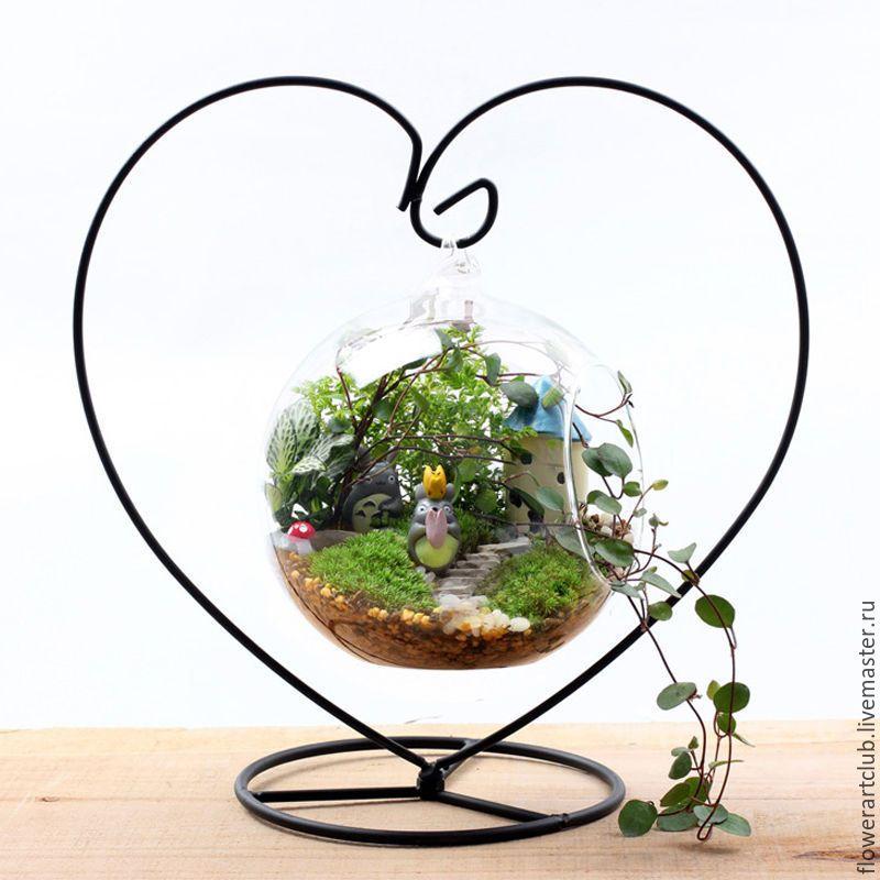 """Купить Подставка-основа """"сердце""""  для стеклянной вазы, мини-садика - вазочка, вазочка цветное стекло"""