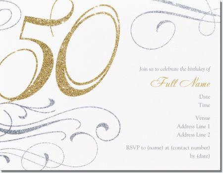 White 50Th Birthday Horizontal Flat Invitations