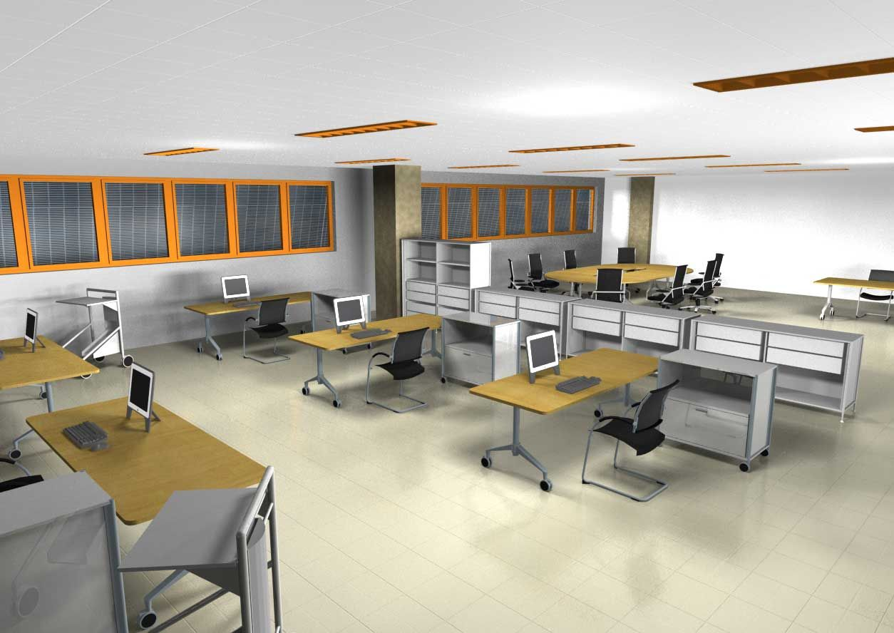 Open office space design office furniture los angeles for Modern office space layout