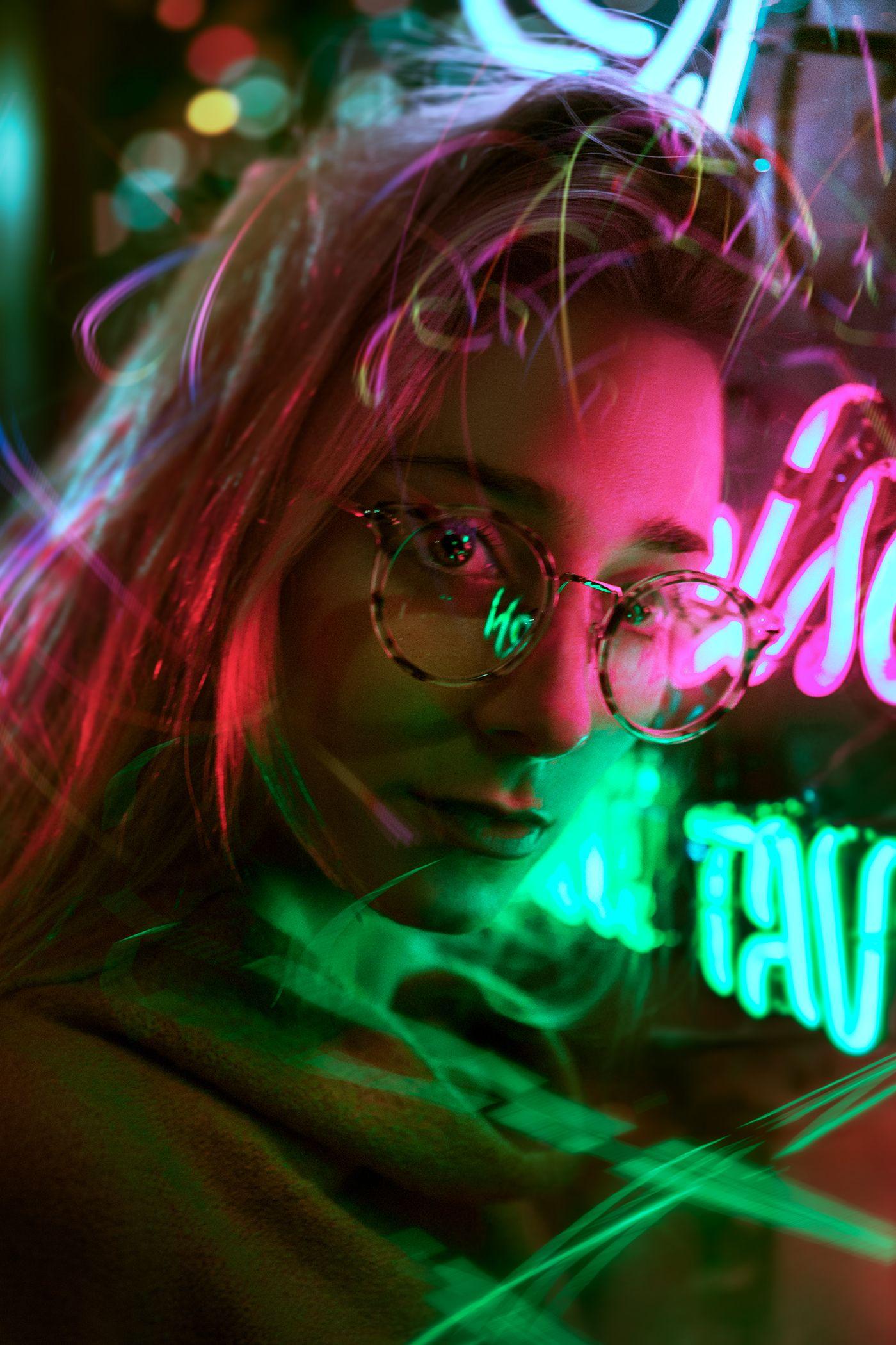 Neon Light Portrait On Behance: Neon Light Portrait On Behance