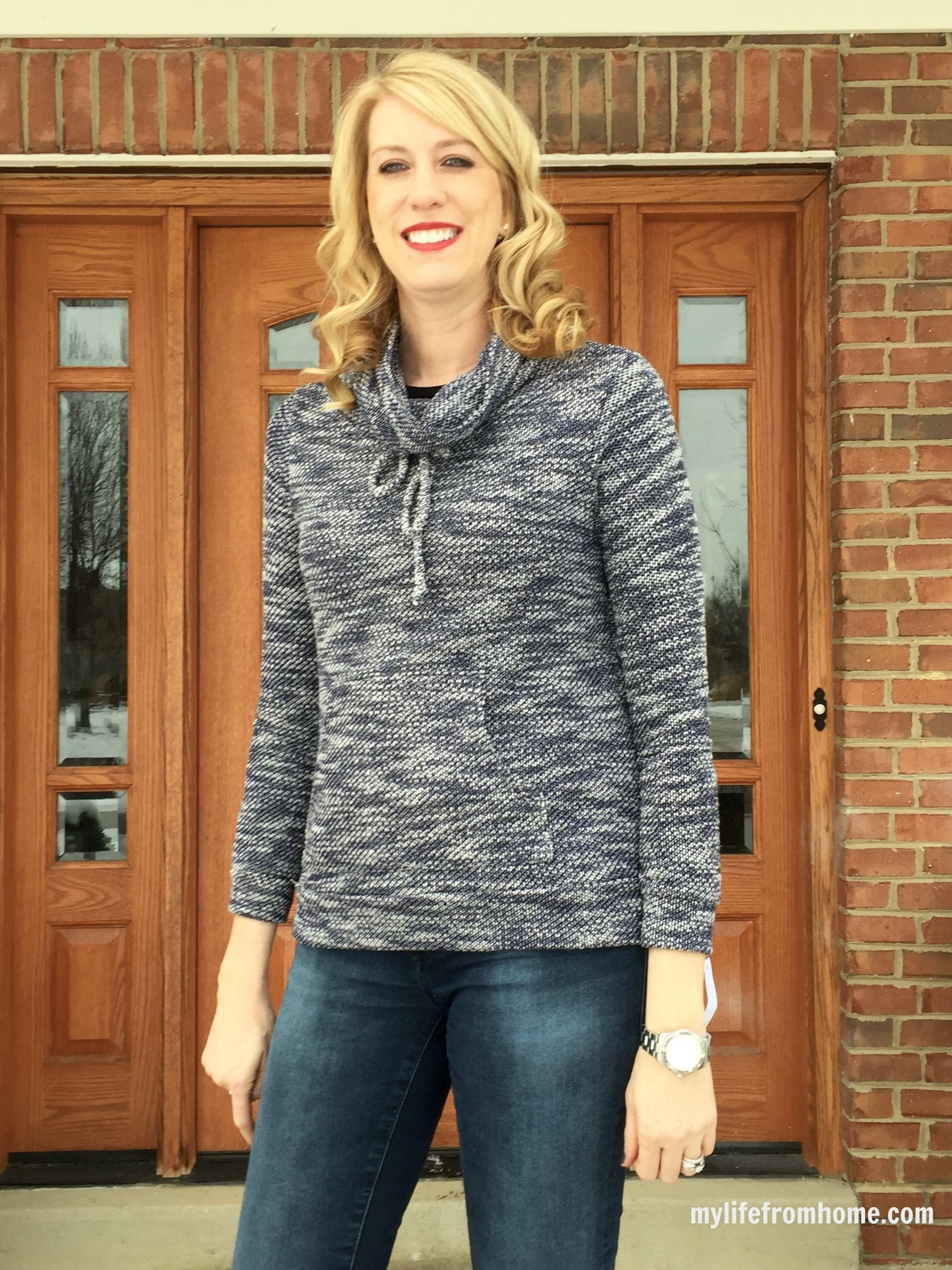 Stitch Fix Box Review January 2016 | Loveappella Evie Drawstring Funnel Neck Sweatshirt | My Life From Home | www.mylifefromhome.com