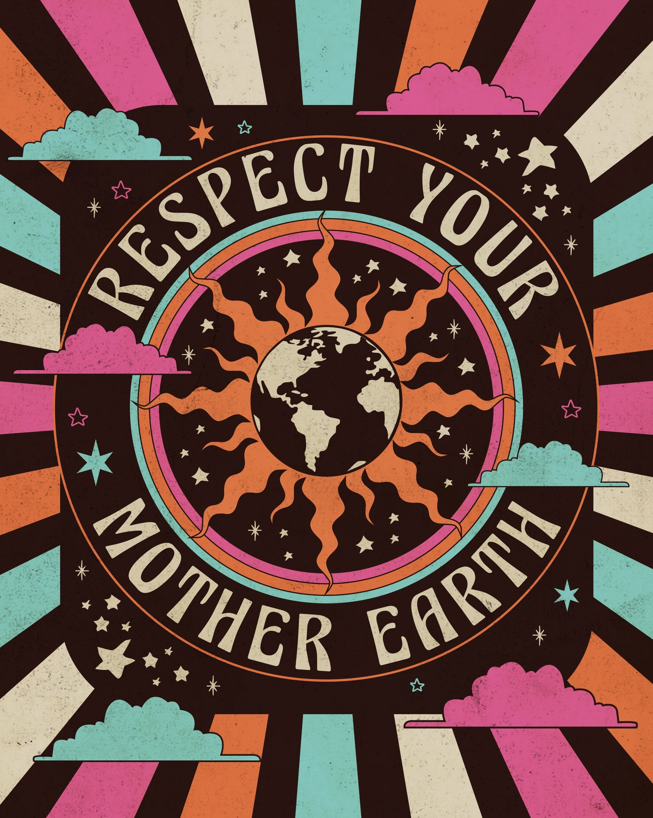 Respect your mother earth. Retro inspired art print. With every purchase we donate 100% of proceeds to help fight the Australian Wildfires. #artprint #motherearth