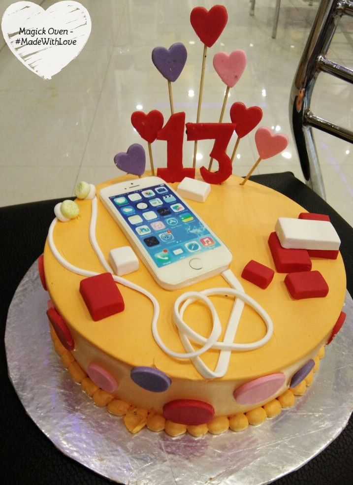 Iphone Themed BlackForest Birthday Cake MadeWithLove For Our Customer Call Puneet At 919425332484 To Make An Order Special Your Loved