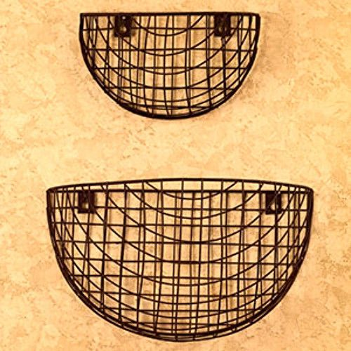 New Primitive French Country Chic 2 BLACK WIRE WALL BASKET Vegetable ...