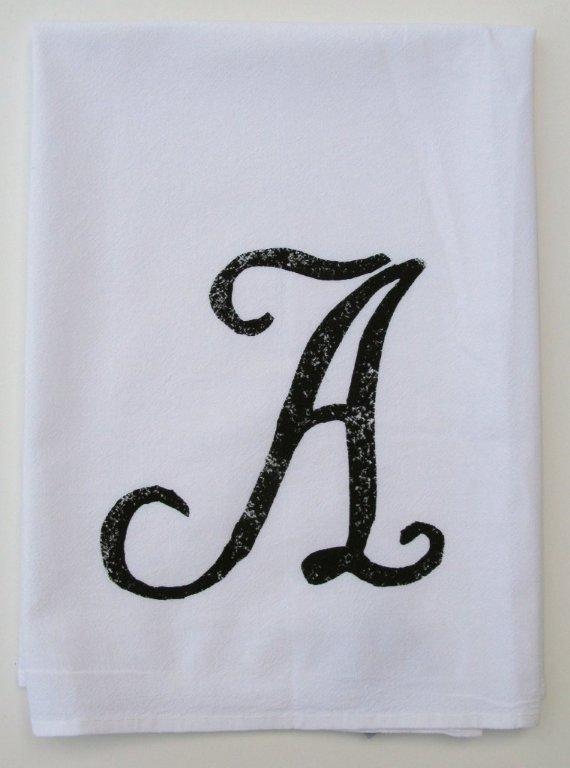 """A"" Monogram Kitchen Towel / Set of 4"